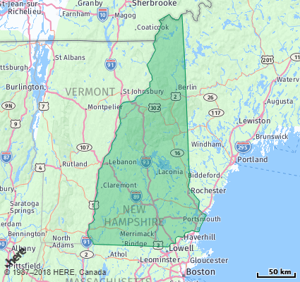 Listing of all Zip Codes in the state of New Hampshire on