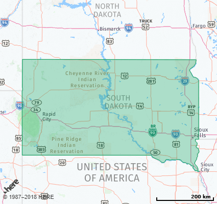 Listing of all Zip Codes in the state of South Dakota