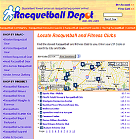 Locate Racquetball & Fitness Clubs