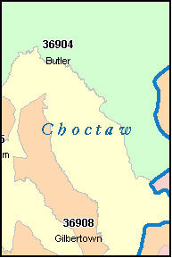 CHOCTAW County, AL ZIP Code Map