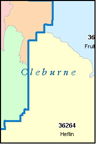 CLEBURNE County, AL ZIP Code Map
