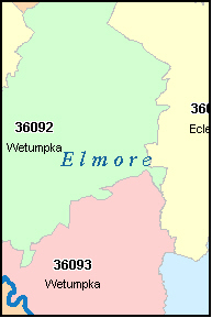 ELMORE County, AL ZIP Code Map