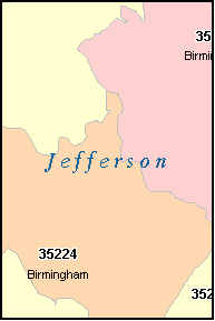 JEFFERSON County, AL ZIP Code Map