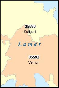 LAMAR County, Alabama Digital ZIP Code Map