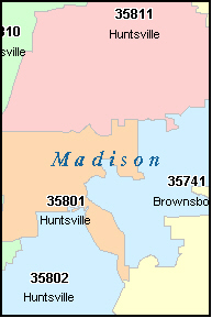 MADISON County, AL ZIP Code Map