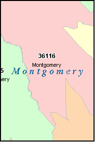 MONTGOMERY County, AL ZIP Code Map
