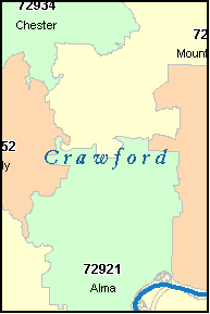 CRAWFORD County, AR ZIP Code Map