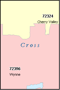 CROSS County, AR ZIP Code Map