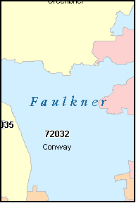 FAULKNER County, AR ZIP Code Map