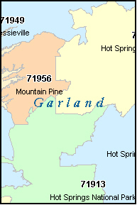 GARLAND County, AR ZIP Code Map