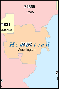 HEMPSTEAD County, AR ZIP Code Map