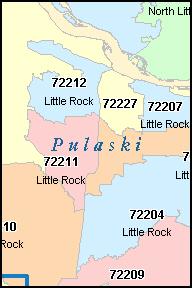 LITTLE ROCK Arkansas AR ZIP Code Map Downloads