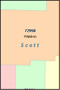 SCOTT County, AR ZIP Code Map