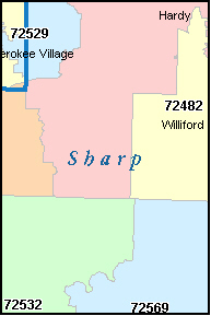 SHARP County, AR ZIP Code Map