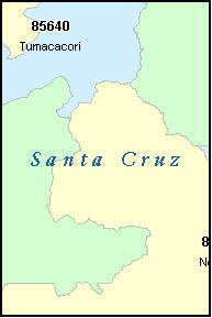 SANTA CRUZ County, Arizona Digital ZIP Code Map