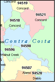 CONTRA COSTA County, CA ZIP Code Map
