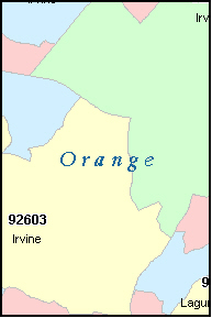 ORANGE County, CA ZIP Code Map