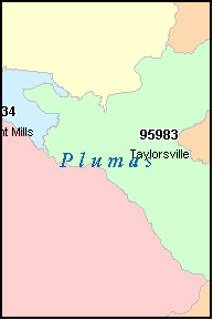 PLUMAS County, CA ZIP Code Map