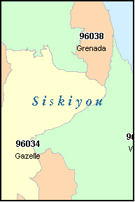 SISKIYOU County, CA ZIP Code Map
