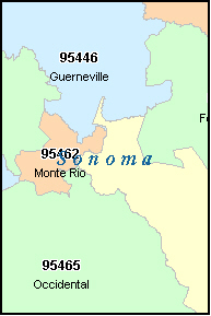 SONOMA County, CA ZIP Code Map