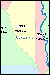 SUTTER County, CA ZIP Code Map