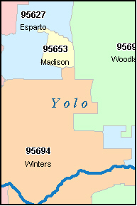 YOLO County, CA ZIP Code Map