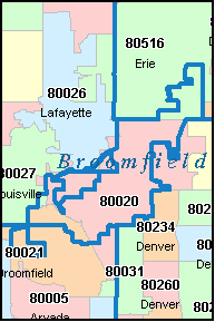 BROOMFIELD County, CO ZIP Code Map