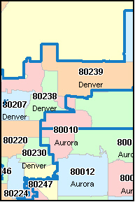 DENVER County Colorado Digital ZIP Code Map