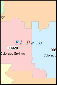 COLORADO SPRINGS Colorado, CO ZIP Code Map