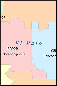 COLORADO SPRINGS Colorado, CO ZIP Code Map Downloads