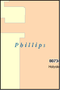 PHILLIPS County, CO ZIP Code Map