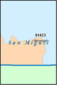 SAN MIGUEL County, CO ZIP Code Map
