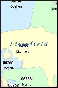 LITCHFIELD County, CT ZIP Code Map