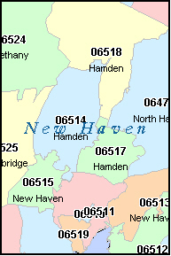 NEW HAVEN County, CT ZIP Code Map