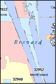 BREVARD County, FL ZIP Code Map