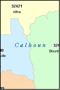 CALHOUN County, FL ZIP Code Map