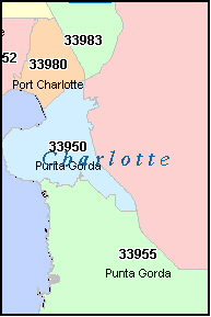 CHARLOTTE County, FL ZIP Code Map