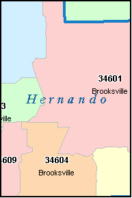 HERNANDO County, FL ZIP Code Map