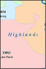 HIGHLANDS County, FL ZIP Code Map