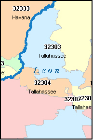 zip codes for tallahassee florida map
