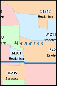 MANATEE County, FL ZIP Code Map