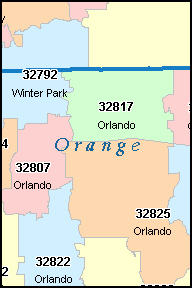 orange county florida digital zip code map. Black Bedroom Furniture Sets. Home Design Ideas