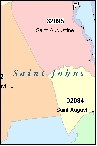 SAINT JOHNS County, FL ZIP Code Map