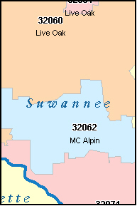 SUWANNEE County, FL ZIP Code Map