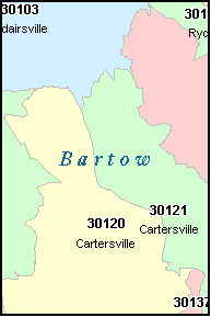 BARTOW County, GA ZIP Code Map