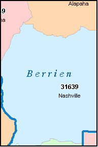 BERRIEN County, GA ZIP Code Map