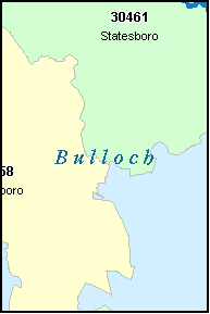 BULLOCH County, GA ZIP Code Map
