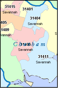CHATHAM County, GA ZIP Code Map