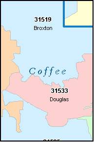 COFFEE County, GA ZIP Code Map