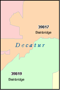 BAINBRIDGE Georgia, GA ZIP Code Map